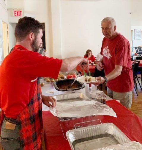 Serving breakfast to Mayor Vandewal at Glendowner Hall