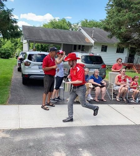 Handing out maple candies at the Harrowsmith parade